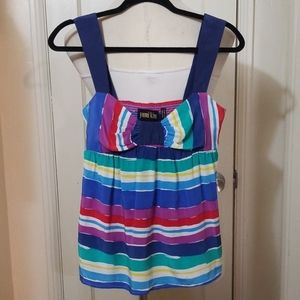 YUMI KIM silk blue stripe multicolored sleeveless